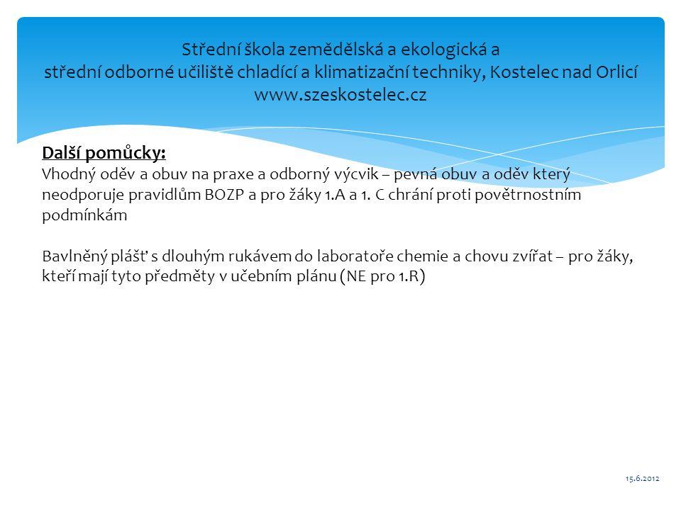 Střední škola zemědělská a ekologická a střední odborné učiliště chladící a klimatizační techniky, Kostelec nad Orlicí www.szeskostelec.cz Další pomůc