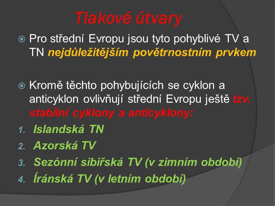 Tlakové útvary  Pro střední Evropu jsou tyto pohyblivé TV a TN nejdůležitějším povětrnostním prvkem  Kromě těchto pohybujících se cyklon a anticyklo