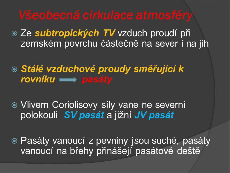Všeobecná cirkulace atmosféry  Ze subtropických TV vzduch proudí při zemském povrchu částečně na sever i na jih  Stálé vzduchové proudy směřující k