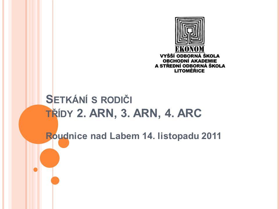 S ETKÁNÍ S RODIČI TŘÍDY 2. ARN, 3. ARN, 4. ARC Roudnice nad Labem 14. listopadu 2011