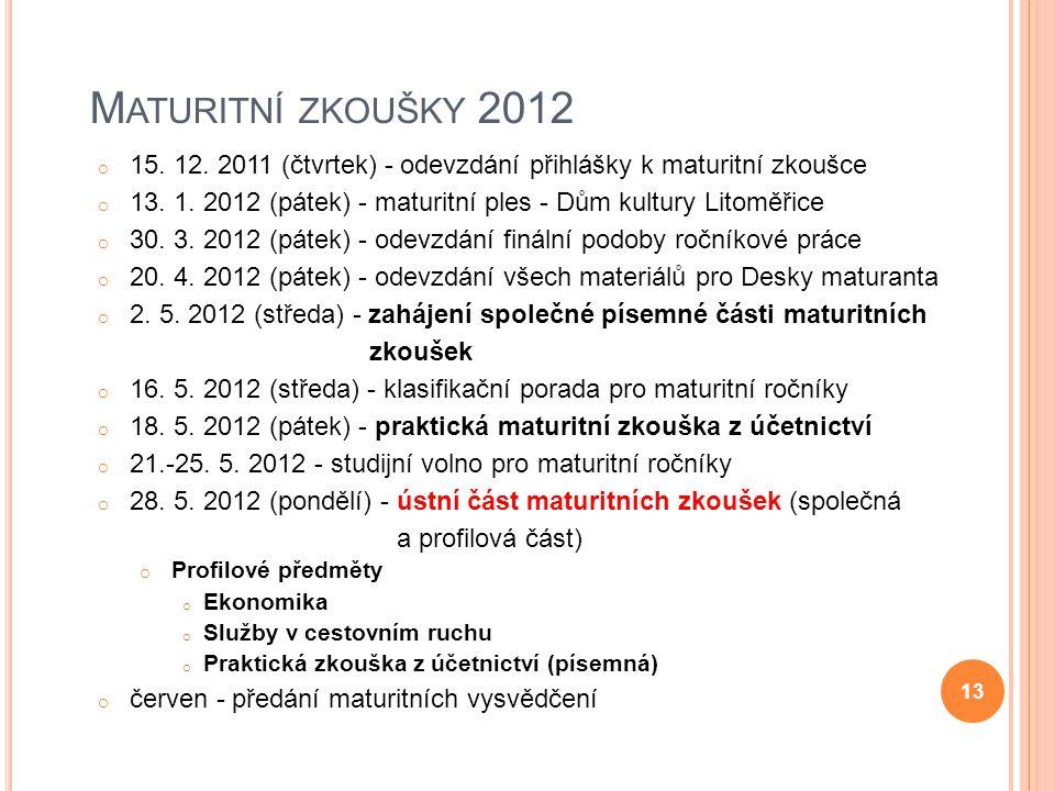 M ATURITNÍ ZKOUŠKY 2012 o 15. 12. 2011 (čtvrtek) - odevzdání přihlášky k maturitní zkoušce o 13. 1. 2012 (pátek) - maturitní ples - Dům kultury Litomě