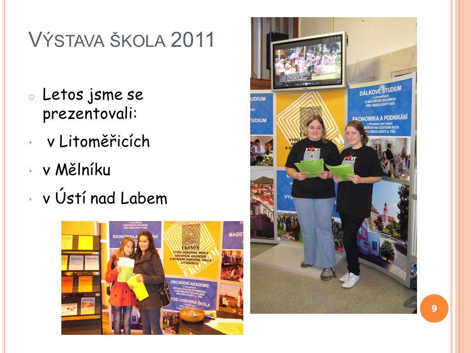 V ÝSTAVA ŠKOLA 2011 9 o Letos jsme se prezentovali: • v Litoměřicích • v Mělníku • v Ústí nad Labem