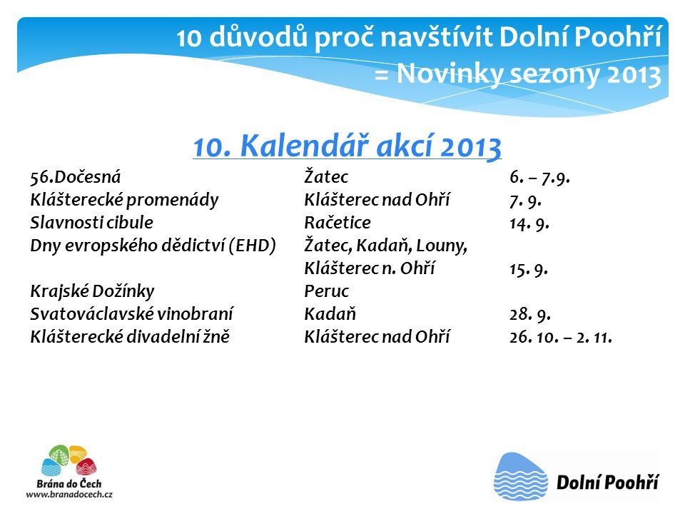 10.Kalendář akcí 2013 56.Dočesná Žatec6. – 7.9. Klášterecké promenádyKlášterec nad Ohří 7.