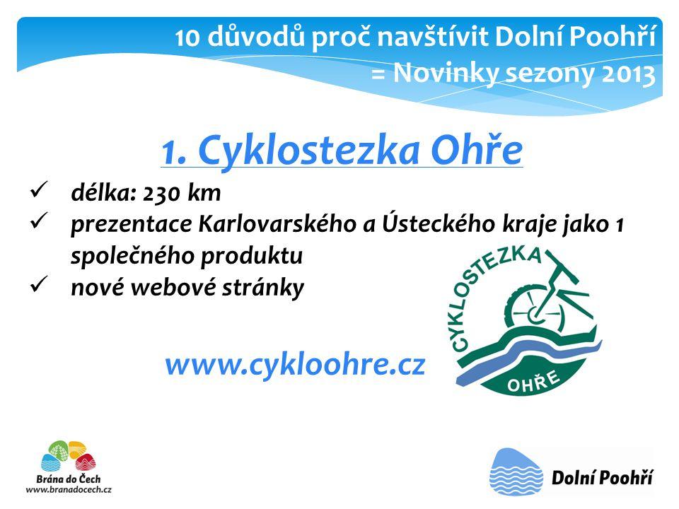 1. Cyklostezka Ohře  délka: 230 km  prezentace Karlovarského a Ústeckého kraje jako 1 společného produktu  nové webové stránky www.cykloohre.cz 10