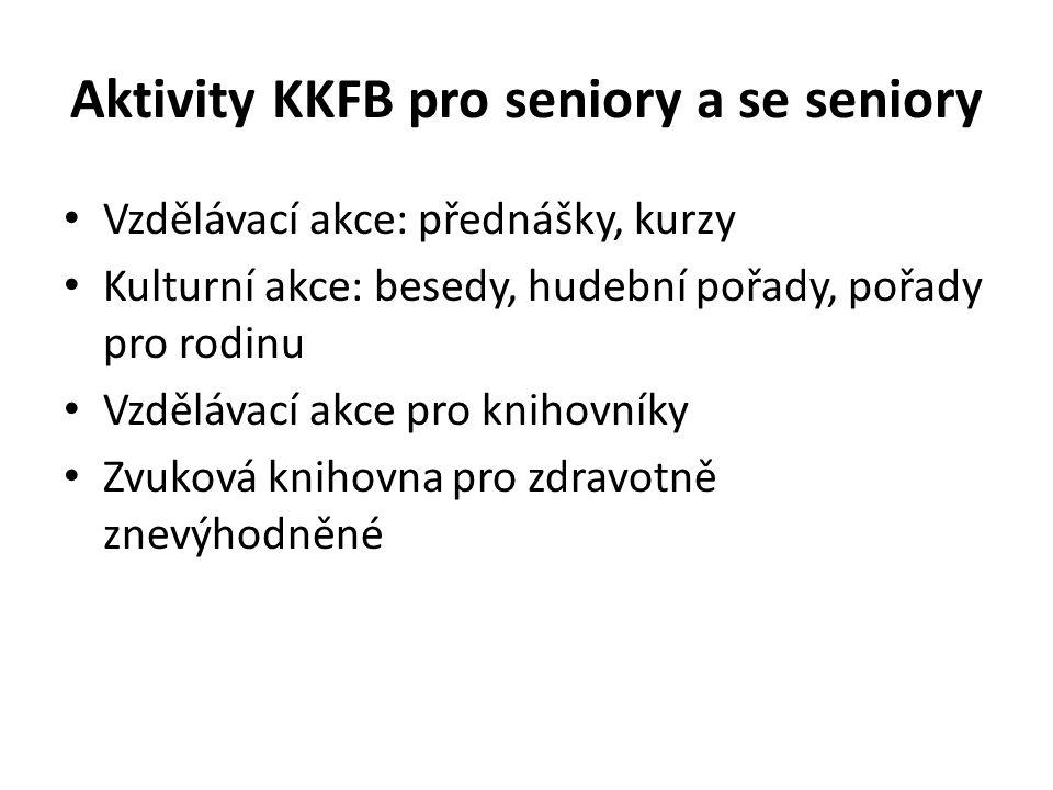 Aktivity KKFB pro seniory a se seniory • Vzdělávací akce: přednášky, kurzy • Kulturní akce: besedy, hudební pořady, pořady pro rodinu • Vzdělávací akc
