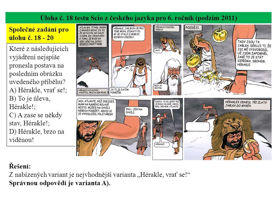 Úloha č. 18 testu Scio z českého jazyka pro 6.