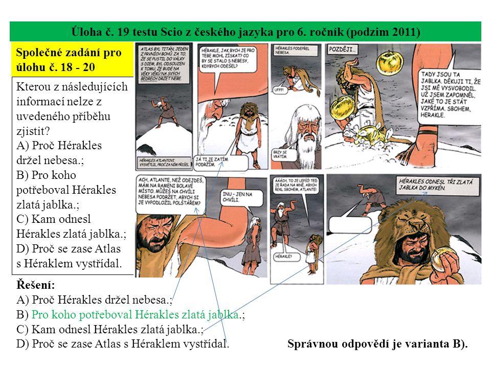 Úloha č. 19 testu Scio z českého jazyka pro 6.