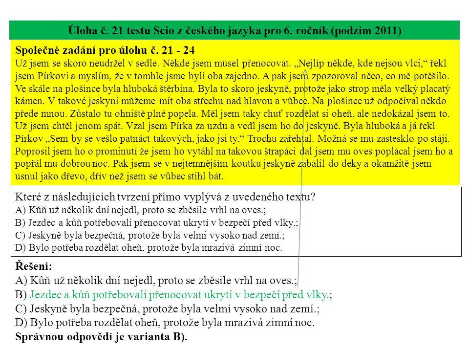 Úloha č. 21 testu Scio z českého jazyka pro 6.