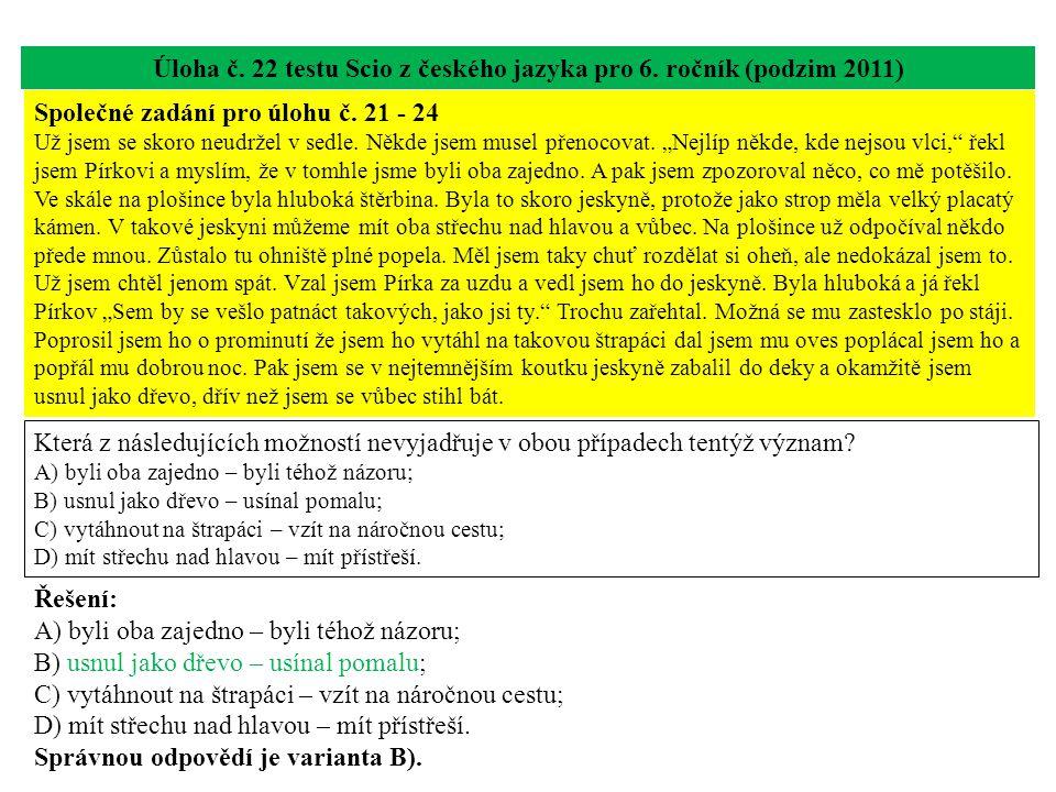 Úloha č. 22 testu Scio z českého jazyka pro 6.