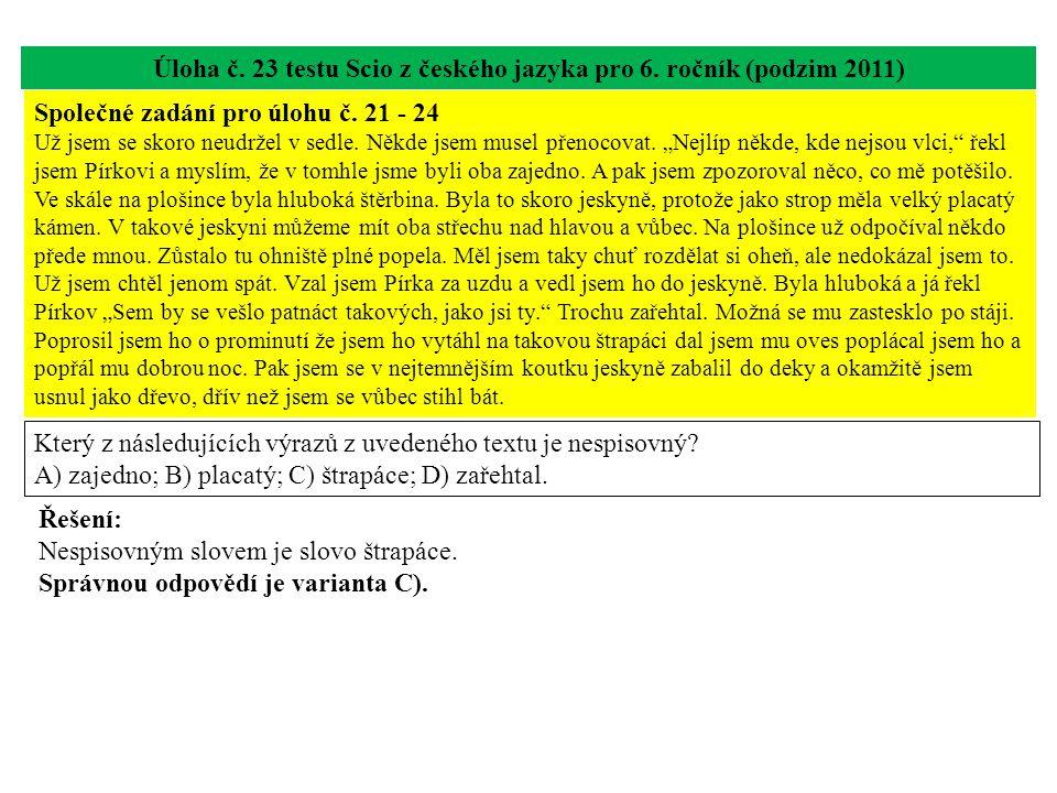 Úloha č. 23 testu Scio z českého jazyka pro 6.