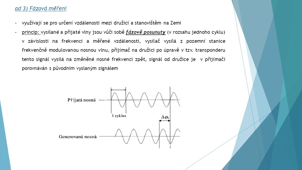 Počet celých cyklů N lze určit: -pomocí více frekvencí – na družici umístěný transpondér vysílá na jiné frekvenci modulovaný signál pomocí stejných čtyřech frekvencí -za předpokladu, že známe přibližnou hodnotu měřené vzdálenosti s přesností lepší než je polovina zvolené nosné vlnové délky -pokud budeme od počátečního okamžiku měření nepřetržitě měřit fázový rozdíl a zaznamenávat i celé cykly -vhodnou kombinací fázových rozdílů více zdrojů stejného vlnění získaných z měření minimálně na dvou bodech