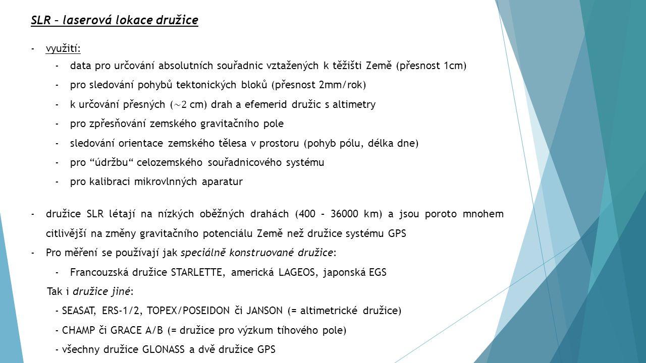 ELEKTORNICKÉ METODY -využívají elektromagnetické vlnění -výhoda: nejsou závislé na době pozorování a na meteorologických podmínkách -v přístrojích pro geodetické aplikace se nejčastěji pro získání tranzitního času, popřípadě rekonstruované, nemodulované nosné příslušné signály, využívají hlavně následující metody: 1)Radiolokační metody 2)Kódové měření 3)Fázová měření 4)Měření dopplerovského posunu 5)Interferometrická měření Všechna tato měření jsou zatížena řadou vlivů, které se projevují jako systematické nebo náhodné chyby, zhoršují přesnost určení polohy, rychlosti a času