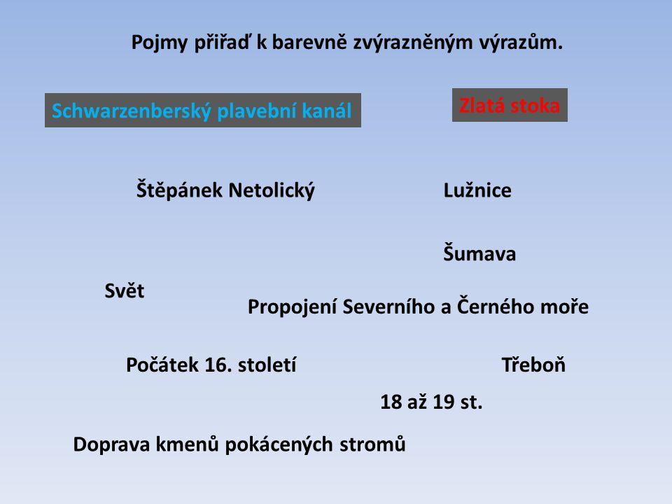Schwarzenberský plavební kanál 18 až 19 st. Šumava Doprava kmenů pokácených stromů Propojení Severního a Černého moře Svět Štěpánek NetolickýLužnice T