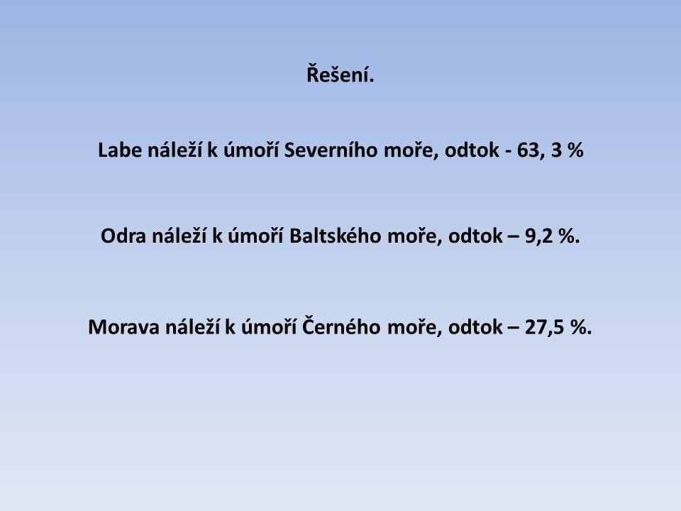Labe náleží k úmoří Severního moře, odtok - 63, 3 % Odra náleží k úmoří Baltského moře, odtok – 9,2 %. Morava náleží k úmoří Černého moře, odtok – 27,