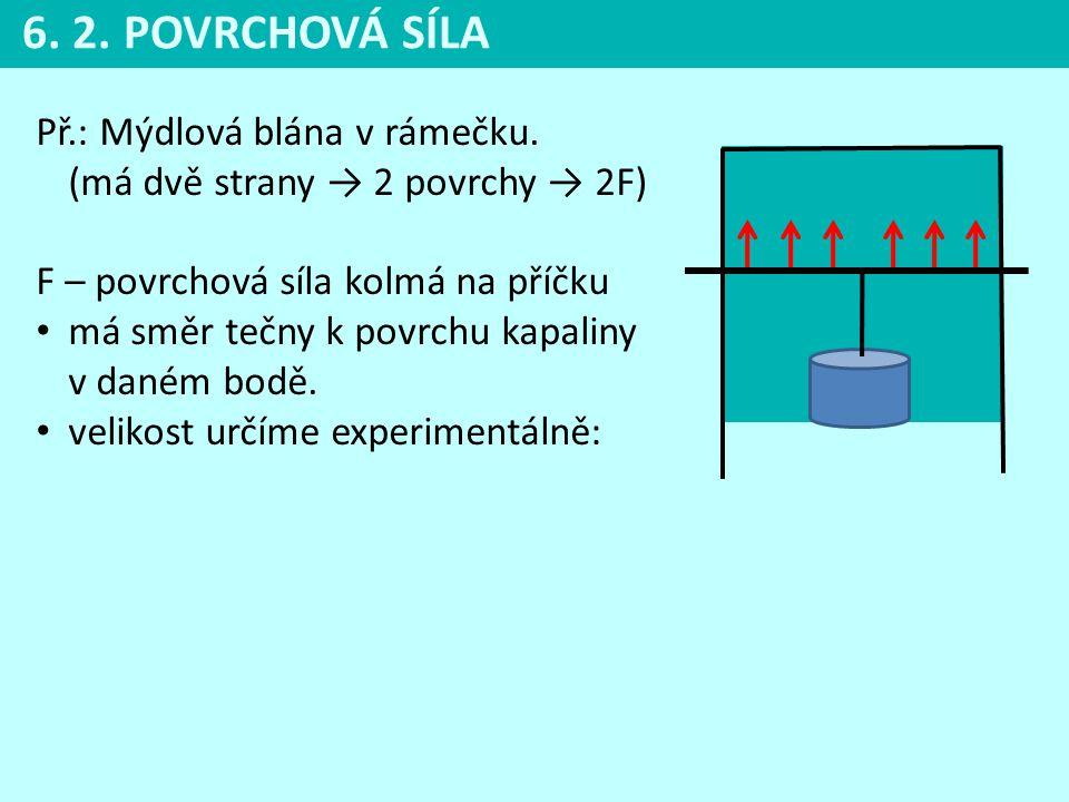 Př.: Mýdlová blána v rámečku. (má dvě strany → 2 povrchy → 2F) F – povrchová síla kolmá na příčku • má směr tečny k povrchu kapaliny v daném bodě. • v