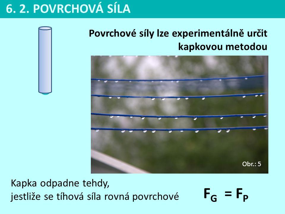 Povrchové síly lze experimentálně určit kapkovou metodou Kapka odpadne tehdy, jestliže se tíhová síla rovná povrchové F G = F P 6. 2. POVRCHOVÁ SÍLA O