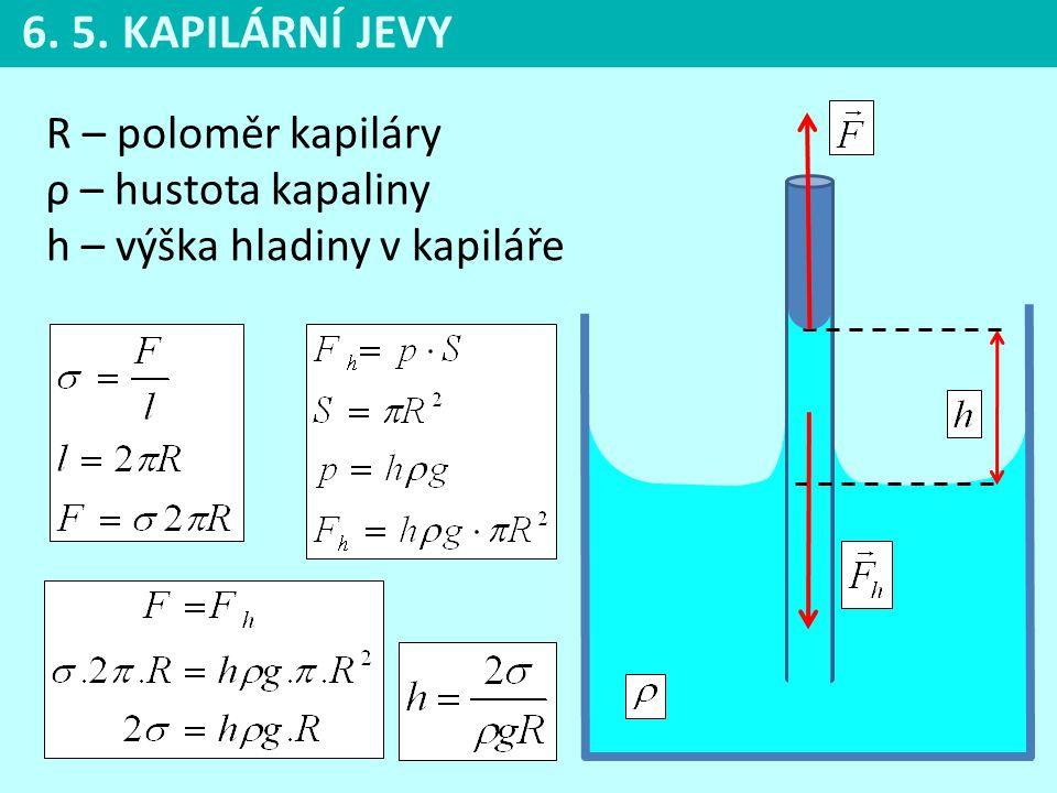 R – poloměr kapiláry ρ – hustota kapaliny h – výška hladiny v kapiláře 6. 5. KAPILÁRNÍ JEVY