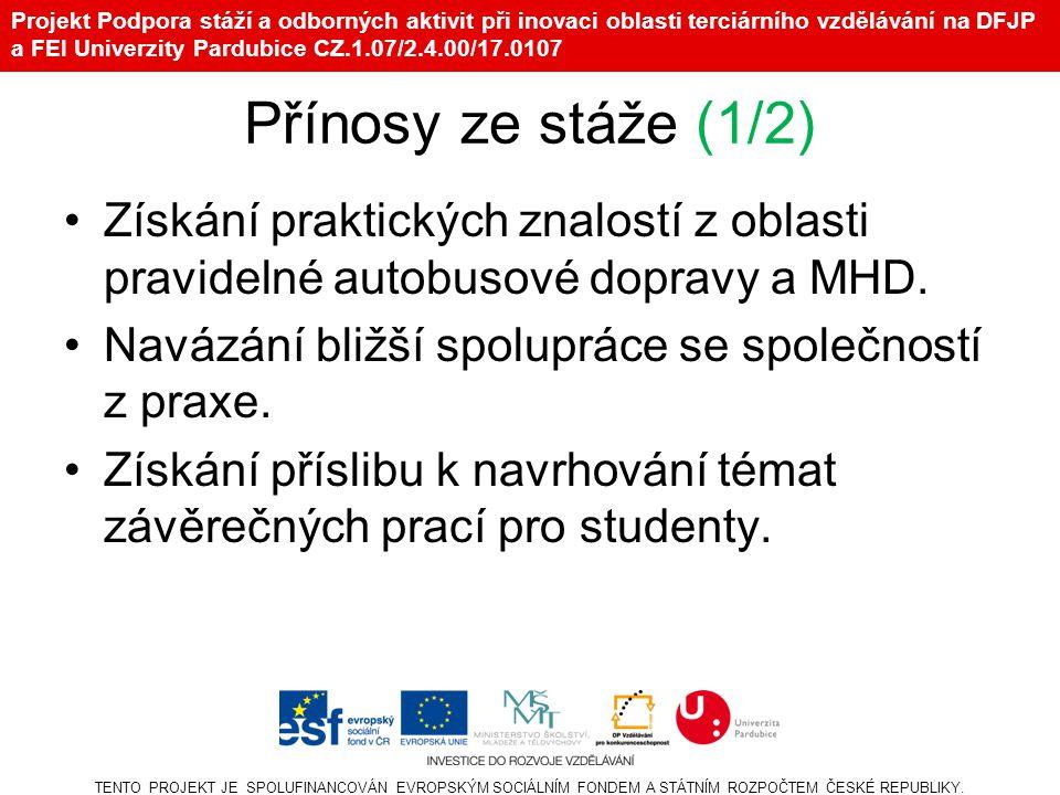 Projekt Podpora stáží a odborných aktivit při inovaci oblasti terciárního vzdělávání na DFJP a FEI Univerzity Pardubice CZ.1.07/2.4.00/17.0107 Přínosy ze stáže (1/2) •Získání praktických znalostí z oblasti pravidelné autobusové dopravy a MHD.