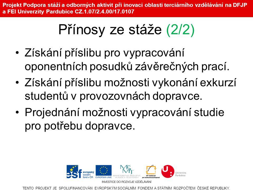 Projekt Podpora stáží a odborných aktivit při inovaci oblasti terciárního vzdělávání na DFJP a FEI Univerzity Pardubice CZ.1.07/2.4.00/17.0107 Přínosy ze stáže (2/2) •Získání příslibu pro vypracování oponentních posudků závěrečných prací.