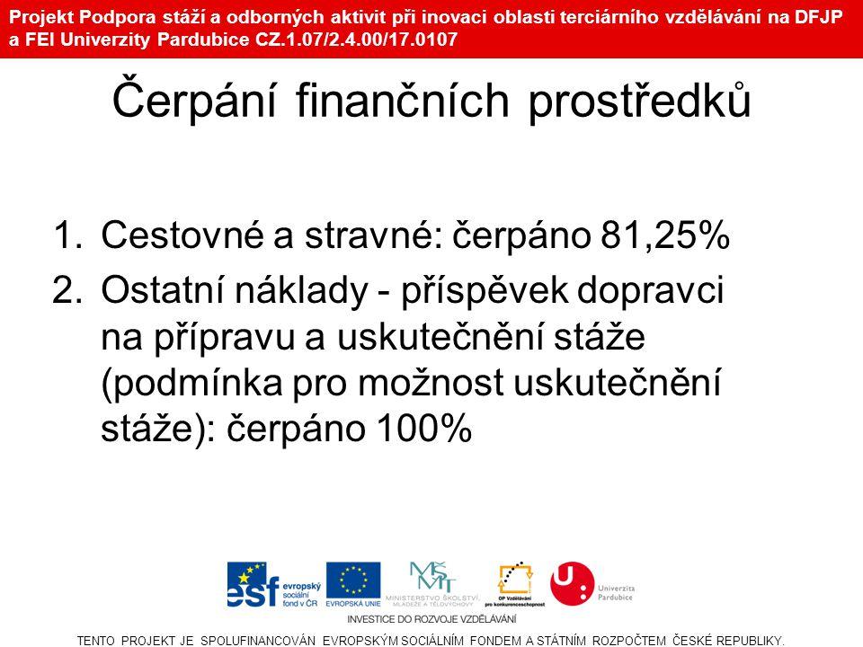 Projekt Podpora stáží a odborných aktivit při inovaci oblasti terciárního vzdělávání na DFJP a FEI Univerzity Pardubice CZ.1.07/2.4.00/17.0107 Čerpání finančních prostředků 1.Cestovné a stravné: čerpáno 81,25% 2.Ostatní náklady - příspěvek dopravci na přípravu a uskutečnění stáže (podmínka pro možnost uskutečnění stáže): čerpáno 100% TENTO PROJEKT JE SPOLUFINANCOVÁN EVROPSKÝM SOCIÁLNÍM FONDEM A STÁTNÍM ROZPOČTEM ČESKÉ REPUBLIKY.
