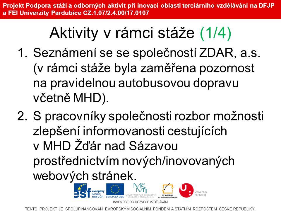 Projekt Podpora stáží a odborných aktivit při inovaci oblasti terciárního vzdělávání na DFJP a FEI Univerzity Pardubice CZ.1.07/2.4.00/17.0107 Aktivity v rámci stáže (1/4) 1.Seznámení se se společností ZDAR, a.s.