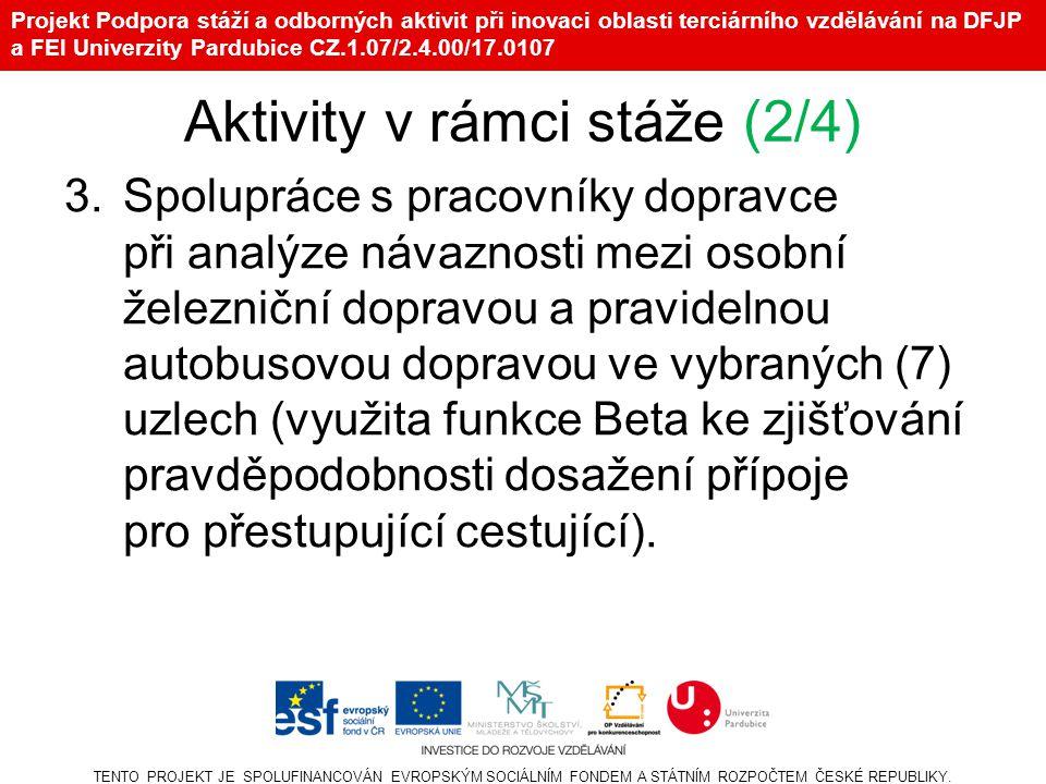 Projekt Podpora stáží a odborných aktivit při inovaci oblasti terciárního vzdělávání na DFJP a FEI Univerzity Pardubice CZ.1.07/2.4.00/17.0107 Aktivity v rámci stáže (2/4) 3.Spolupráce s pracovníky dopravce při analýze návaznosti mezi osobní železniční dopravou a pravidelnou autobusovou dopravou ve vybraných (7) uzlech (využita funkce Beta ke zjišťování pravděpodobnosti dosažení přípoje pro přestupující cestující).