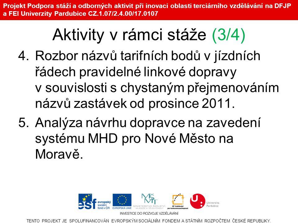 Projekt Podpora stáží a odborných aktivit při inovaci oblasti terciárního vzdělávání na DFJP a FEI Univerzity Pardubice CZ.1.07/2.4.00/17.0107 Aktivity v rámci stáže (3/4) 4.Rozbor názvů tarifních bodů v jízdních řádech pravidelné linkové dopravy v souvislosti s chystaným přejmenováním názvů zastávek od prosince 2011.