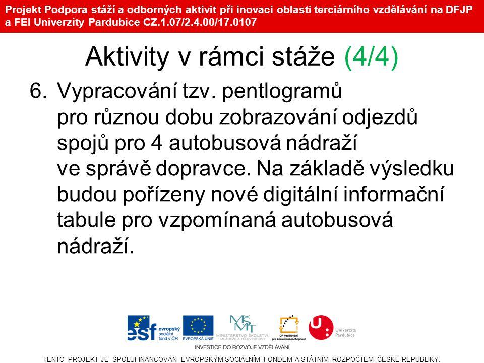 Projekt Podpora stáží a odborných aktivit při inovaci oblasti terciárního vzdělávání na DFJP a FEI Univerzity Pardubice CZ.1.07/2.4.00/17.0107 Aktivity v rámci stáže (4/4) 6.Vypracování tzv.