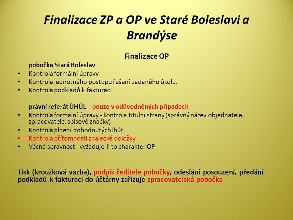 Finalizace ZP a OP ve Staré Boleslavi a Brandýse Finalizace OP pobočka Stará Boleslav • Kontrola formální úpravy • Kontrola jednotného postupu řešení zadaného úkolu.