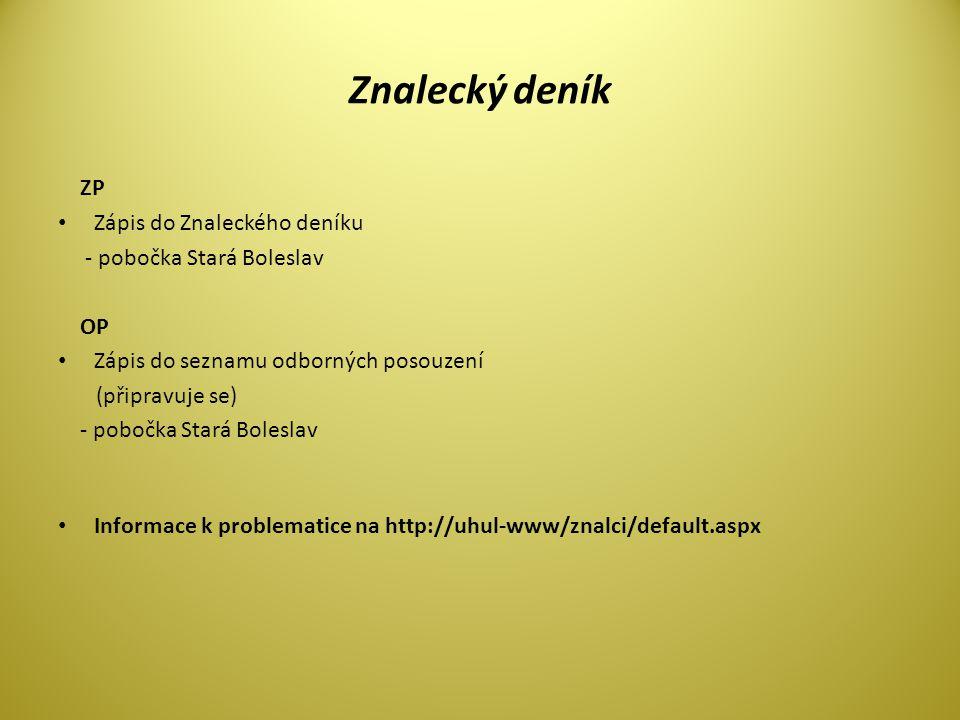 Znalecký deník ZP • Zápis do Znaleckého deníku - pobočka Stará Boleslav OP • Zápis do seznamu odborných posouzení (připravuje se) - pobočka Stará Boleslav • Informace k problematice na http://uhul-www/znalci/default.aspx