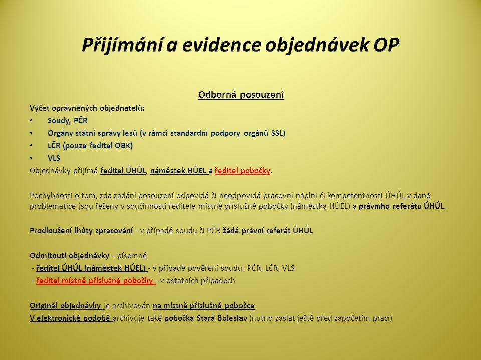 Přijímání a evidence objednávek OP Odborná posouzení Výčet oprávněných objednatelů: • Soudy, PČR • Orgány státní správy lesů (v rámci standardní podpo
