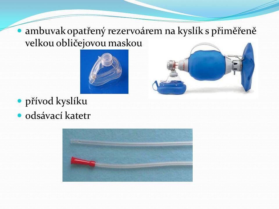  ambuvak opatřený rezervoárem na kyslík s přiměřeně velkou obličejovou maskou  přívod kyslíku  odsávací katetr