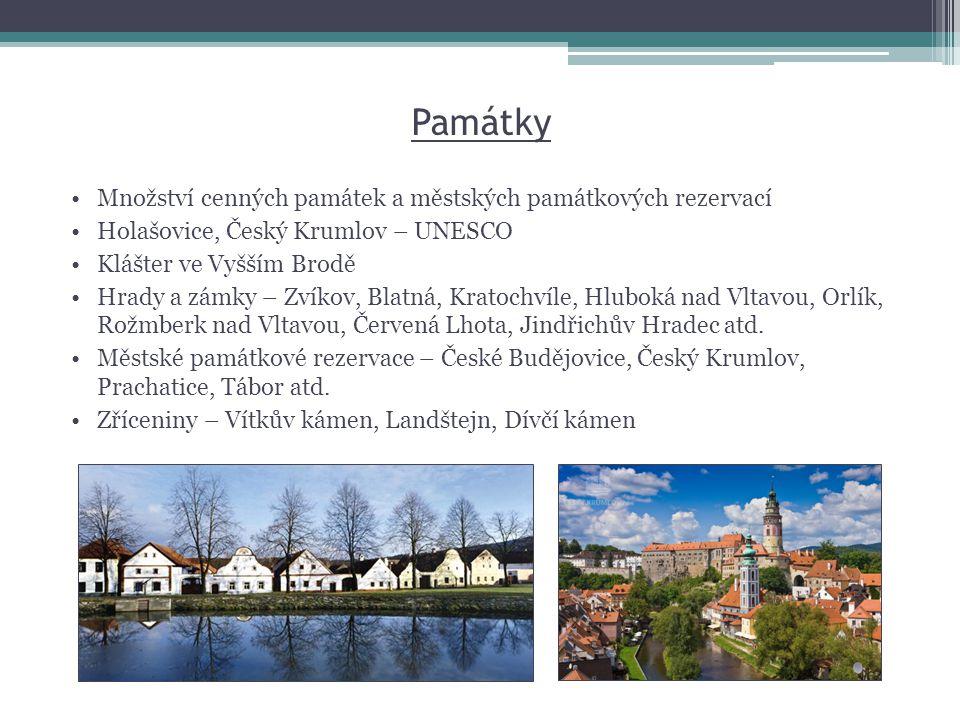 Památky •Množství cenných památek a městských památkových rezervací •Holašovice, Český Krumlov – UNESCO •Klášter ve Vyšším Brodě •Hrady a zámky – Zvík