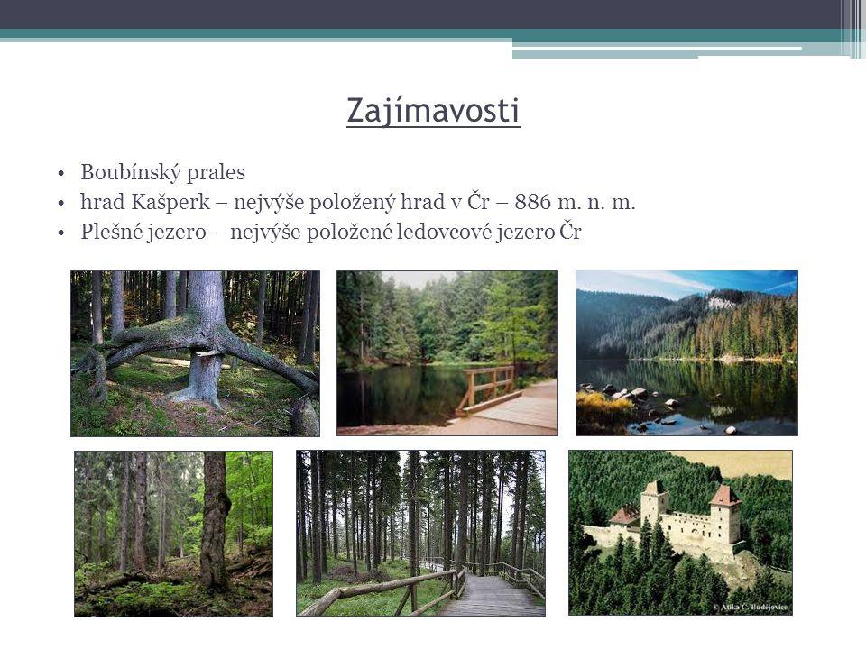 Zajímavosti •Boubínský prales •hrad Kašperk – nejvýše položený hrad v Čr – 886 m. n. m. •Plešné jezero – nejvýše položené ledovcové jezero Čr