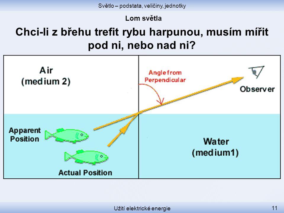 Světlo – podstata, veličiny, jednotky Užití elektrické energie 11 Chci-li z břehu trefit rybu harpunou, musím mířit pod ni, nebo nad ni?