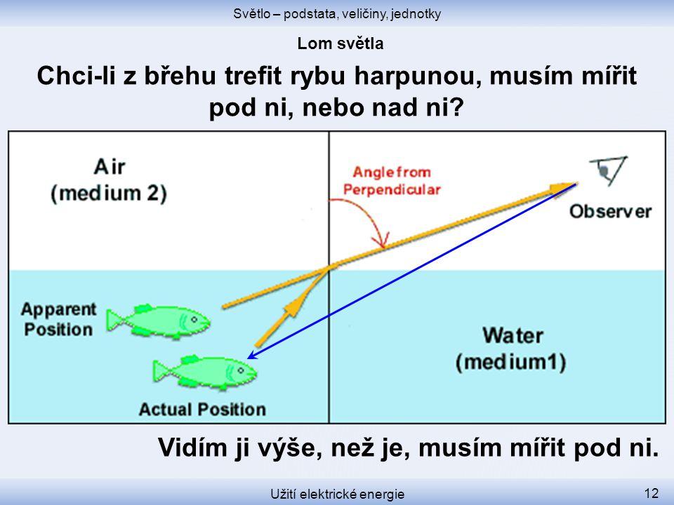 Světlo – podstata, veličiny, jednotky Užití elektrické energie 12 Chci-li z břehu trefit rybu harpunou, musím mířit pod ni, nebo nad ni.