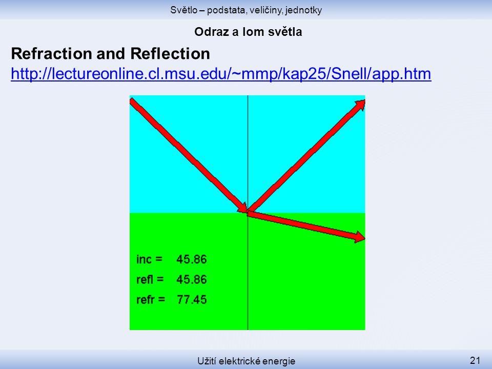 Světlo – podstata, veličiny, jednotky Užití elektrické energie 21 Refraction and Reflection http://lectureonline.cl.msu.edu/~mmp/kap25/Snell/app.htm