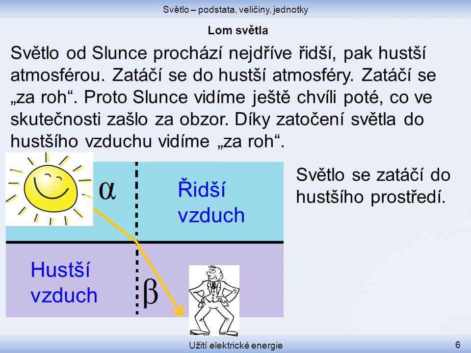 Světlo – podstata, veličiny, jednotky Užití elektrické energie 6 Světlo od Slunce prochází nejdříve řidší, pak hustší atmosférou.