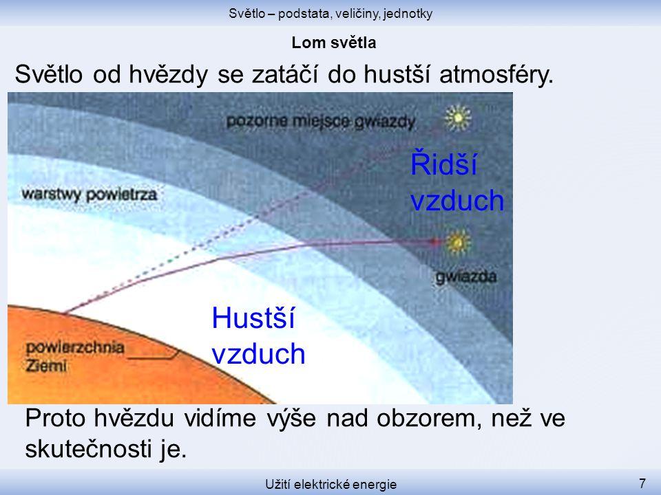 Světlo – podstata, veličiny, jednotky Užití elektrické energie 7 Světlo od hvězdy se zatáčí do hustší atmosféry.