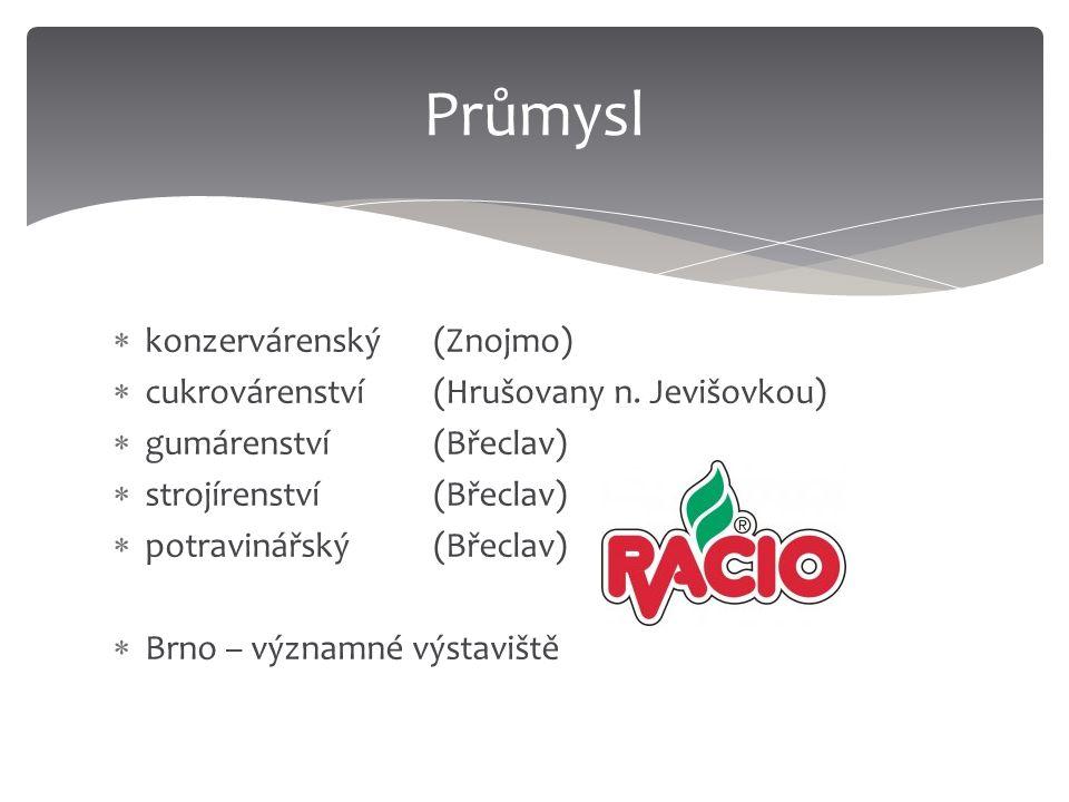  konzervárenský (Znojmo)  cukrovárenství (Hrušovany n. Jevišovkou)  gumárenství(Břeclav)  strojírenství(Břeclav)  potravinářský (Břeclav)  Brno