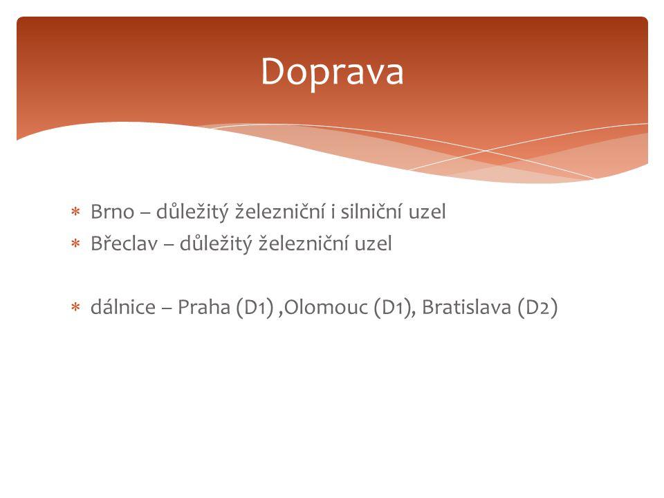  Brno – důležitý železniční i silniční uzel  Břeclav – důležitý železniční uzel  dálnice – Praha (D1),Olomouc (D1), Bratislava (D2) Doprava