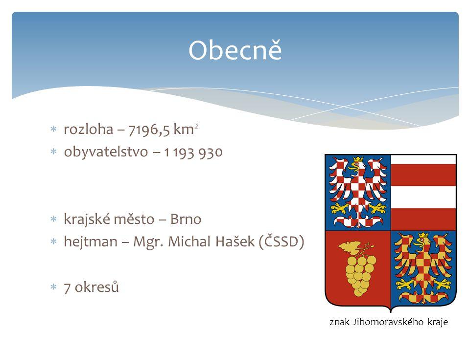  rozloha – 7196,5 km 2  obyvatelstvo – 1 193 930  krajské město – Brno  hejtman – Mgr. Michal Hašek (ČSSD)  7 okresů Obecně znak Jihomoravského k