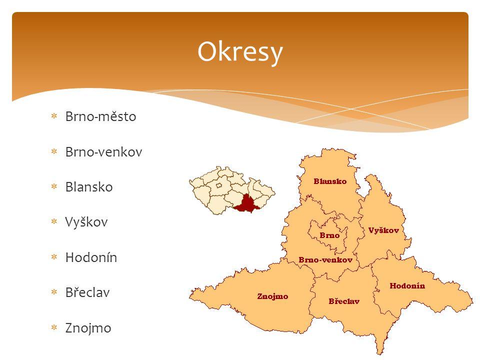  Brno-město  Brno-venkov  Blansko  Vyškov  Hodonín  Břeclav  Znojmo Okresy
