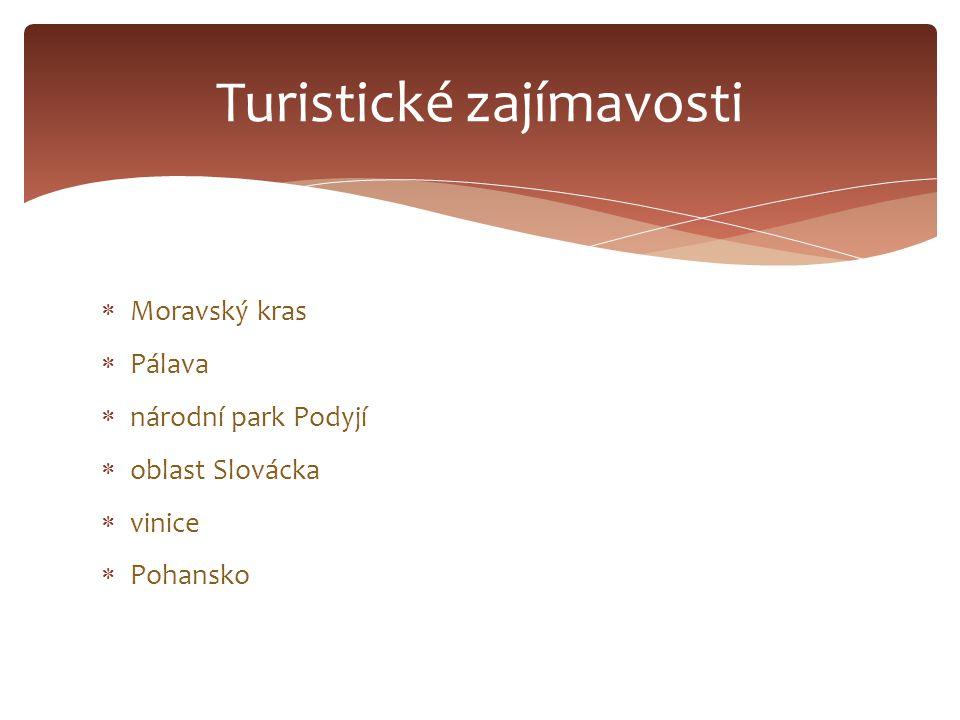  Moravský kras  Pálava  národní park Podyjí  oblast Slovácka  vinice  Pohansko Turistické zajímavosti
