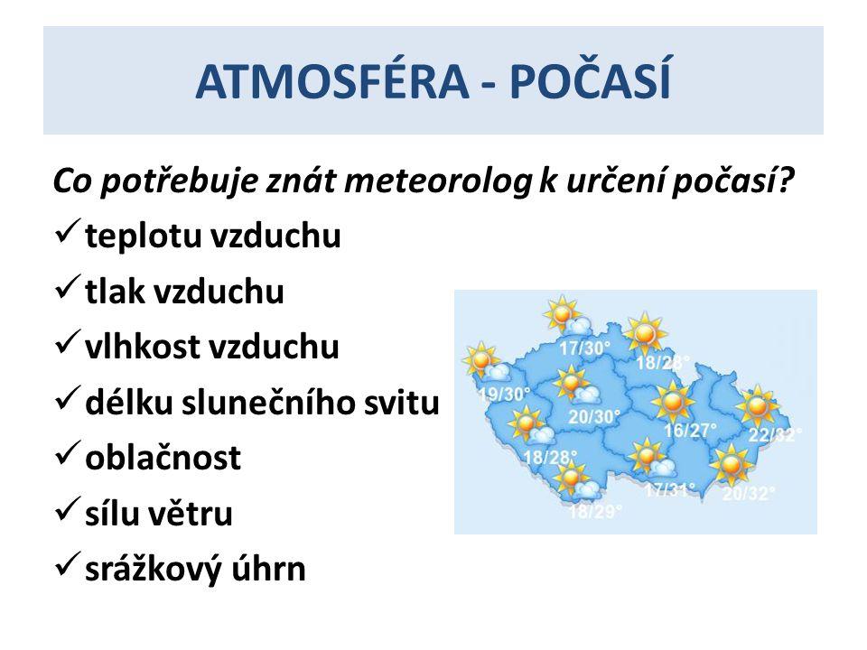 ATMOSFÉRA - POČASÍ Co potřebuje znát meteorolog k určení počasí.