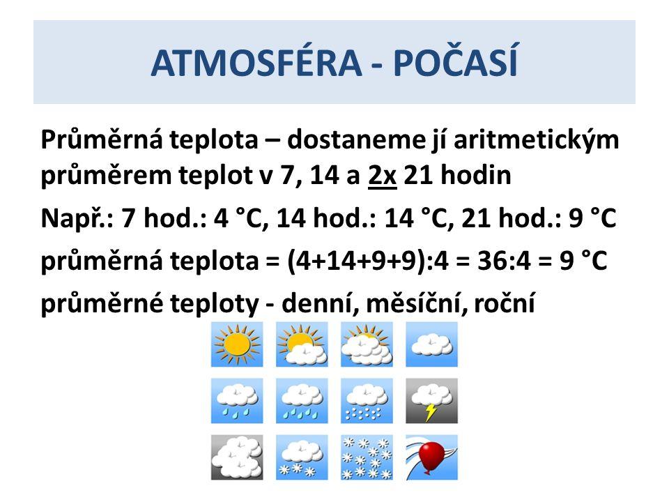 ATMOSFÉRA - POČASÍ Průměrná teplota – dostaneme jí aritmetickým průměrem teplot v 7, 14 a 2x 21 hodin Např.: 7 hod.: 4 °C, 14 hod.: 14 °C, 21 hod.: 9 °C průměrná teplota = (4+14+9+9):4 = 36:4 = 9 °C průměrné teploty - denní, měsíční, roční