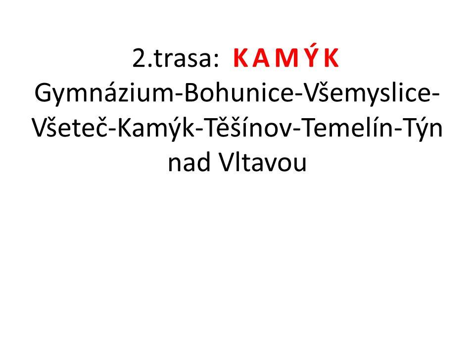 2.trasa: KAMÝK Gymnázium-Bohunice-Všemyslice- Všeteč-Kamýk-Těšínov-Temelín-Týn nad Vltavou