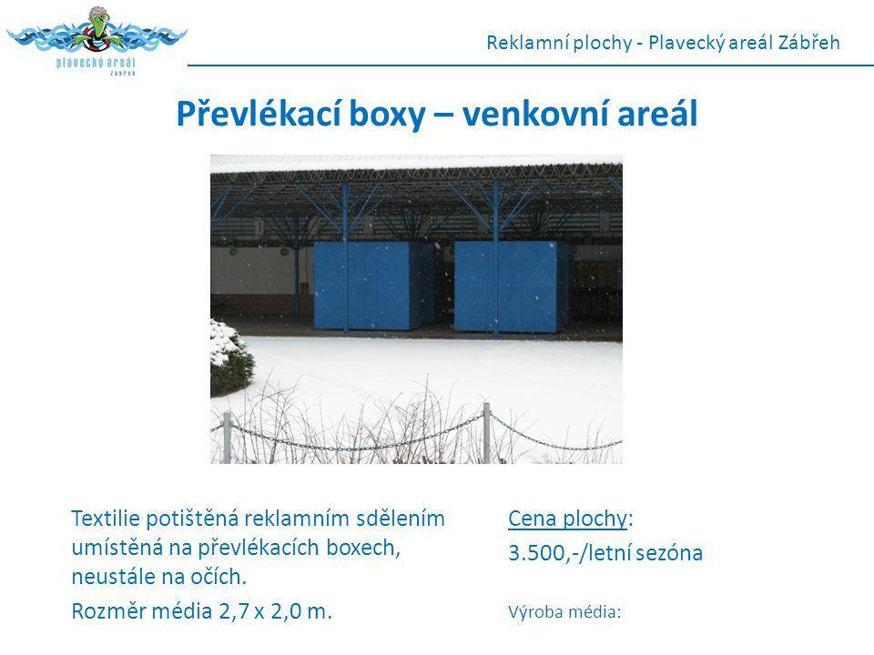 Převlékací boxy – venkovní areál Textilie potištěná reklamním sdělením umístěná na převlékacích boxech, neustále na očích. Rozměr média 2,7 x 2,0 m. R