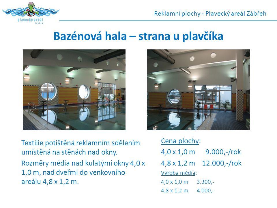Bazénová hala – strana u plavčíka Textilie potištěná reklamním sdělením umístěná na stěnách nad okny. Rozměry média nad kulatými okny 4,0 x 1,0 m, nad