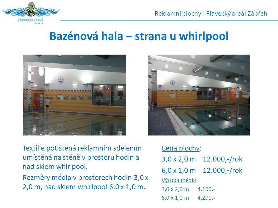 Bazénová hala – strana u whirlpool Textilie potištěná reklamním sdělením umístěná na stěně v prostoru hodin a nad sklem whirlpool. Rozměry média v pro